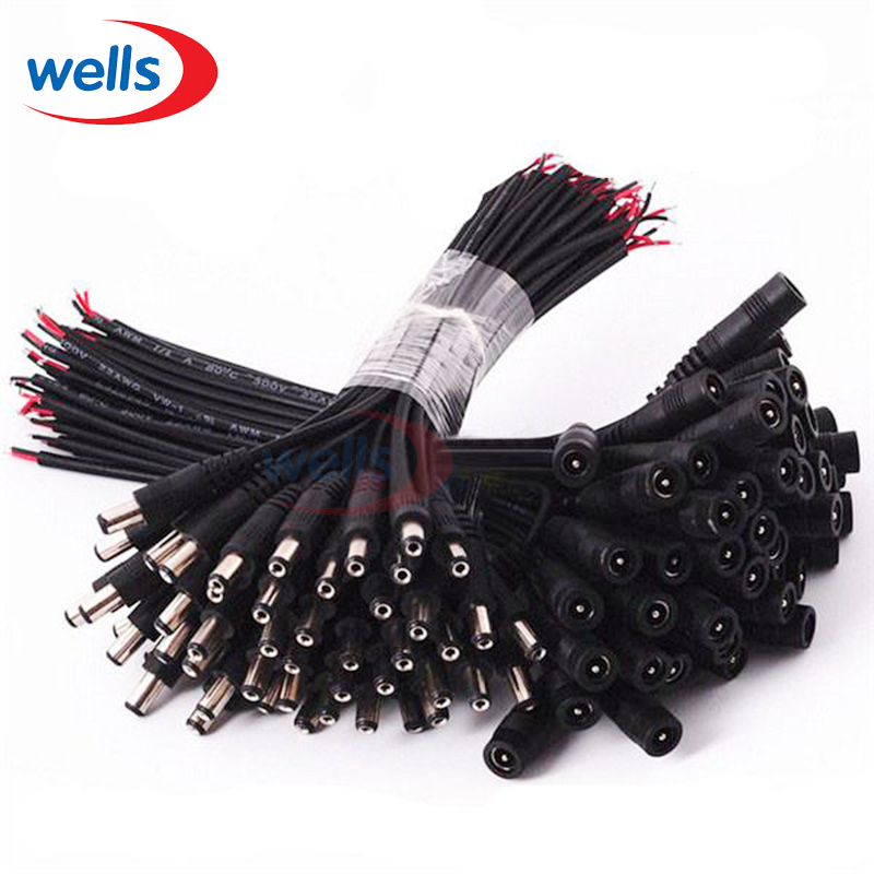 Hot Sell DC 5.5x2.1 male female Connector Plug Cable Wire For CCTV Camera and 3528 5050 LED Strip Light 5pcs lot 12v dc power plug male connector 5 5x2 1mm with cord cable for 5050 3528 2835 led strip cctv free shipping