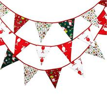 Merry Christmas Banner Fabric Bunting Double-sided Retro Cloth Decoration