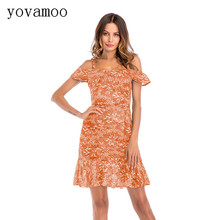 Yovamoo 2018 Summer Womens Chiffon Spaghetti Strap Dress Fashion Strapless Ruffles Floral Print Dresses