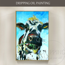 Artist Hand-painted High Quality Modern Wall Art Animal Cow Oil Painting Funny Eating for Decor