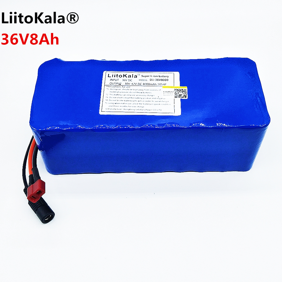 LiitoKala 36V 6ah 8ah 10 500W 18650 lithium battery 36V 8AH Electric bike battery with PVC case for electric bicycle