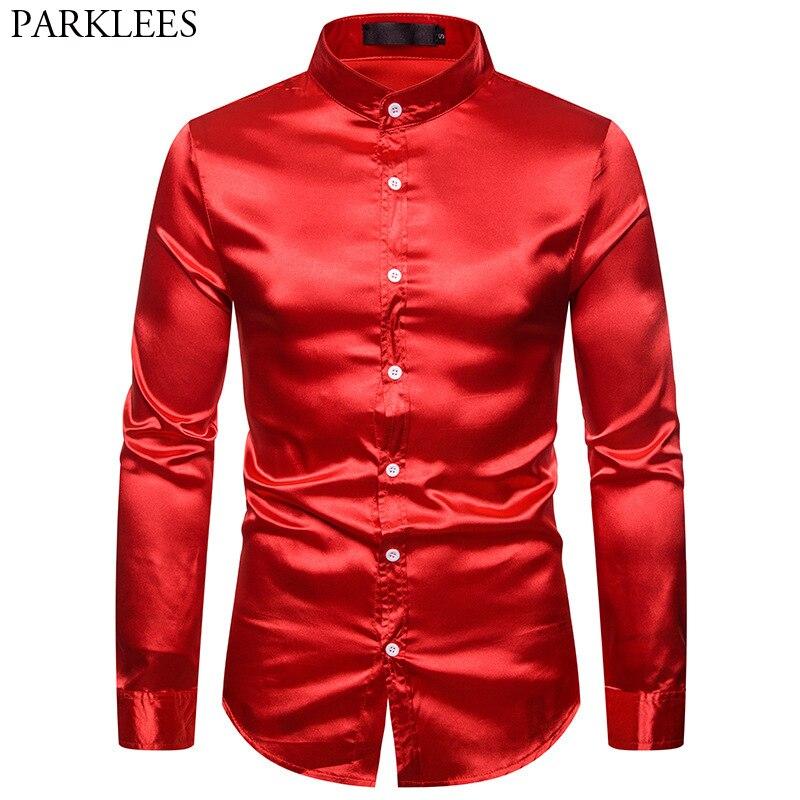 Mens Red Silk Like Satin Dress Shirts 2019 Brand Mandarin Collar Slim Fit Men Tuxedo Shirt Party Wedding Prom Male Disco Shirt