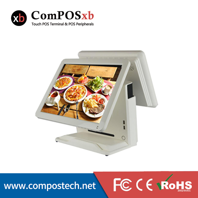 POS1618(D)--New  Style  15 Inch All In One Dual Touch Screen Restaurant System POS Machine For Business