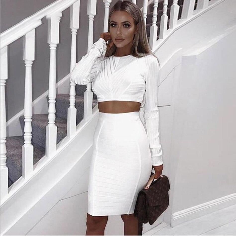Seamyla 2019 新ファッション包帯ドレス長袖セクシーなツーピースセットクラブウェア膝丈の女性のイブニングパーティーボディコンドレス  グループ上の レディース衣服 からの ドレス の中 1