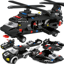 670+pcs Police Station Blocks City SWAT Helicopter Car Truck Figures Building Enlighten Assembly Toys For Children Gift