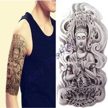 Sex Arm Tatoo 3d Men Buddha Tattoos Designs Waterproof Temporary Tattoo Large Body Art Stickers Lotus Flash Tattoo Sleeve