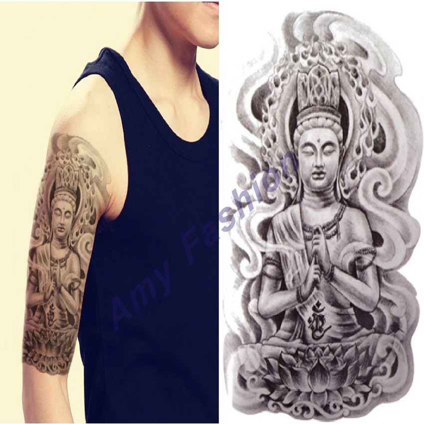 arm tatoo 3d men buddha tattoos designs waterproof temporary tattoo large body art stickers. Black Bedroom Furniture Sets. Home Design Ideas