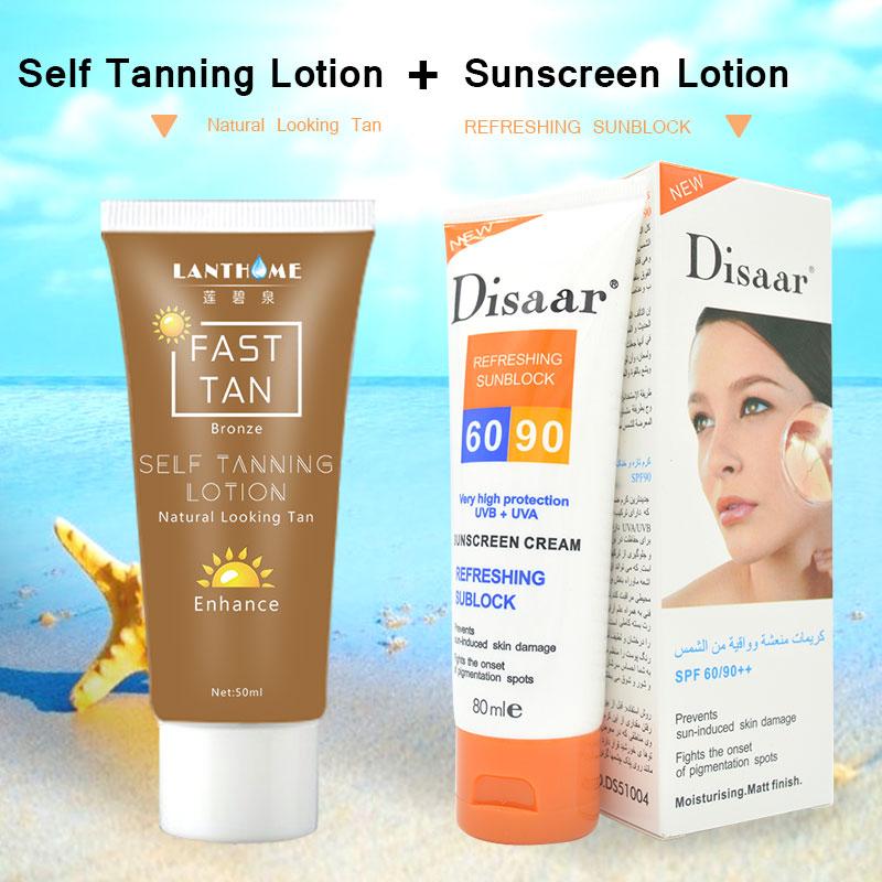 New Disaar sunscreen cream SPF 60/90 moisturizing skin protect sunblock 80g natural lanthome super self tanning body cream Онихомикоз