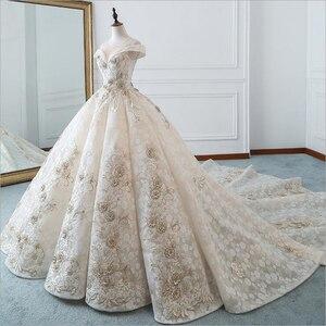 Image 2 - Luxe nouveau bateau cou manches courtes Appliques De luxe perles dentelle robe De mariée pour les robes De mariée De mariage Bridals Vestido De Noiva