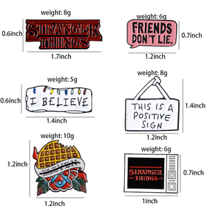 Эмалированная брошка Eleven для ТВ-серий, в стиле «STRANGER THINGS», «Друзья, не лгут», в стиле «Denim», в стиле «Gothic», для болельщиков
