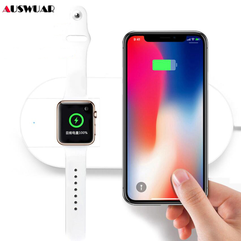 purchase cheap 2efe6 a98c2 US $14.87 33% OFF|Fast QI Wireless Charger for iPhone XS MAX Wireless  Charging 2 In 1 for Apple Watch Series iWatch 1 2 3 4 Fast Charger  Wireless-in ...