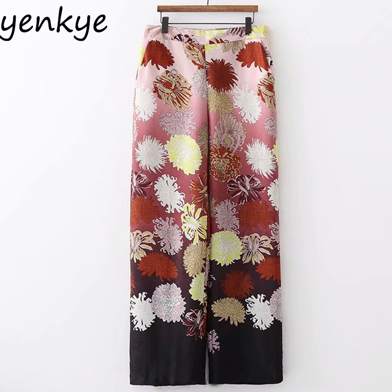 Women Floral Printed   Wide     Leg     Pants   Female Side Zipper Flowy High Waist Casual Loose Trousers palazzo   pants   pantalon femme