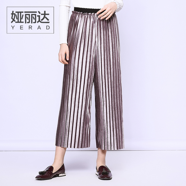 8f8d705cbb YERAD Women's Pleated Wide Leg Pants Paperbag Waist Pants Elastic Waist  Velvet Pants Ankle Length Palazzo