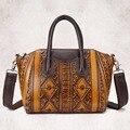 New Arrival Women Genuine Embossed Leather Tote Handbag Vintage National Style Messenger Bag Famous Brand Office Shoulder Bags