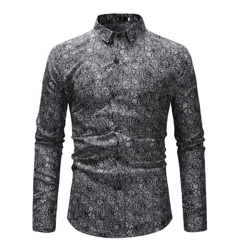Рубашка 2019 Новый стиль Мужская Повседневная песчаная пляжная гавайская рубашка с длинными рукавами Удобная Camisa Masculina красивый цветок рубашка мужская