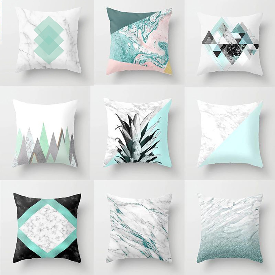 Elife Pineapple Geometric Cushion Cover Marble Glitter Polyester Home Decor Bedroom Sofa Car Throw Pillows Case 45x45CM
