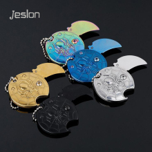 Jeslon Coins Folding Knife 440 Blade Key Chain Letter Opener Outdoor Survival Camping Tactical Hunting Pocket knives EDC Tools