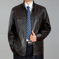 Mature Men Fashion Top Leather Jacket Solid Large Size Stand Collar Casual Wear Men Jacket Comfortable