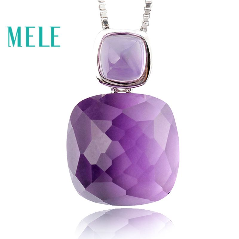 MELE Natural amethyst real 925 silver pendant, semi-precious stone, fashion ladies pendant, trendy and popular mele natural shell necklace pendant for women fashion meteor collar trendy and popular manual work handmade