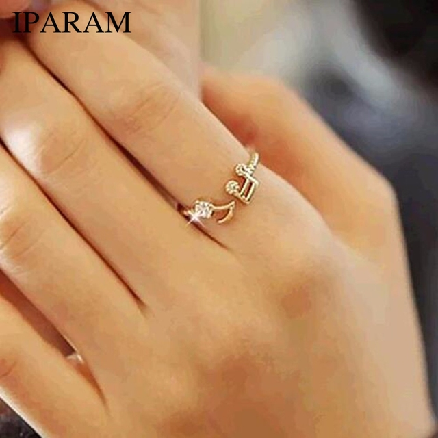 IPARAM 2018 New Cute Musical Note Openings Adjustable Rhinestone Midi Rings for