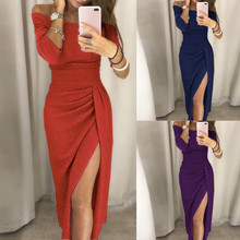 MUQGEW Sexy Dress High Slit Off Shoulder Bodycon Party Dresses Women Elastic Solid Watermelon Red Navy Purple Feminino Vestido