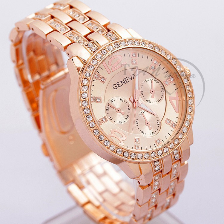 Women Watches Ladies Watches Top Brand Luxury Geneva Watches Women Stainless Steel Quartz Bracelet Watch Crystal Bayan Kol Saat