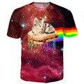 Pb & j rainbow gato gatito tee camiseta 3d galaxy espacio nebulosa colorida impresión tes de las tapas mujeres hombres camiseta del verano harajuku ropa