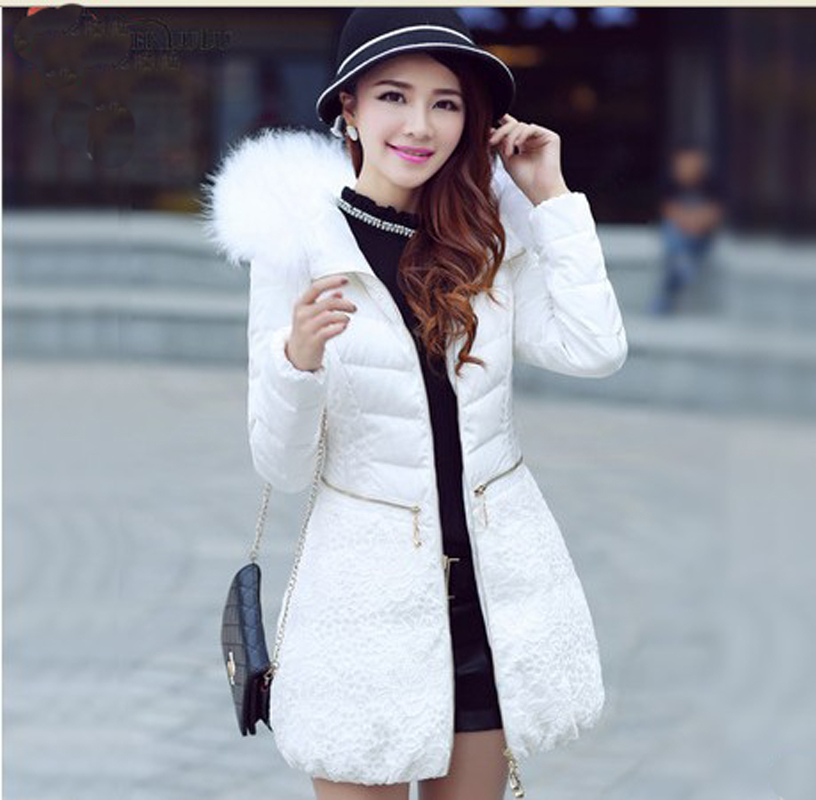2013 New Female Raccon Fur Collar Cotton-Padded Coat Winter Parka Middle-Long Lace Thick Down Cotton Jacket Free Shipping B1537 princess sweet lolita coat candy rain original new winter japanese style rabbit fur lace bow cotton padded jacket pink coat ab02