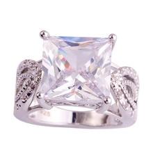 Lingmei joyería exquisita princesa brillante blanco cz anillo de plata mujer hombre Estilo clásico Anillos Tamaño 7 8 9 10 Nave Libre Al Por Mayor