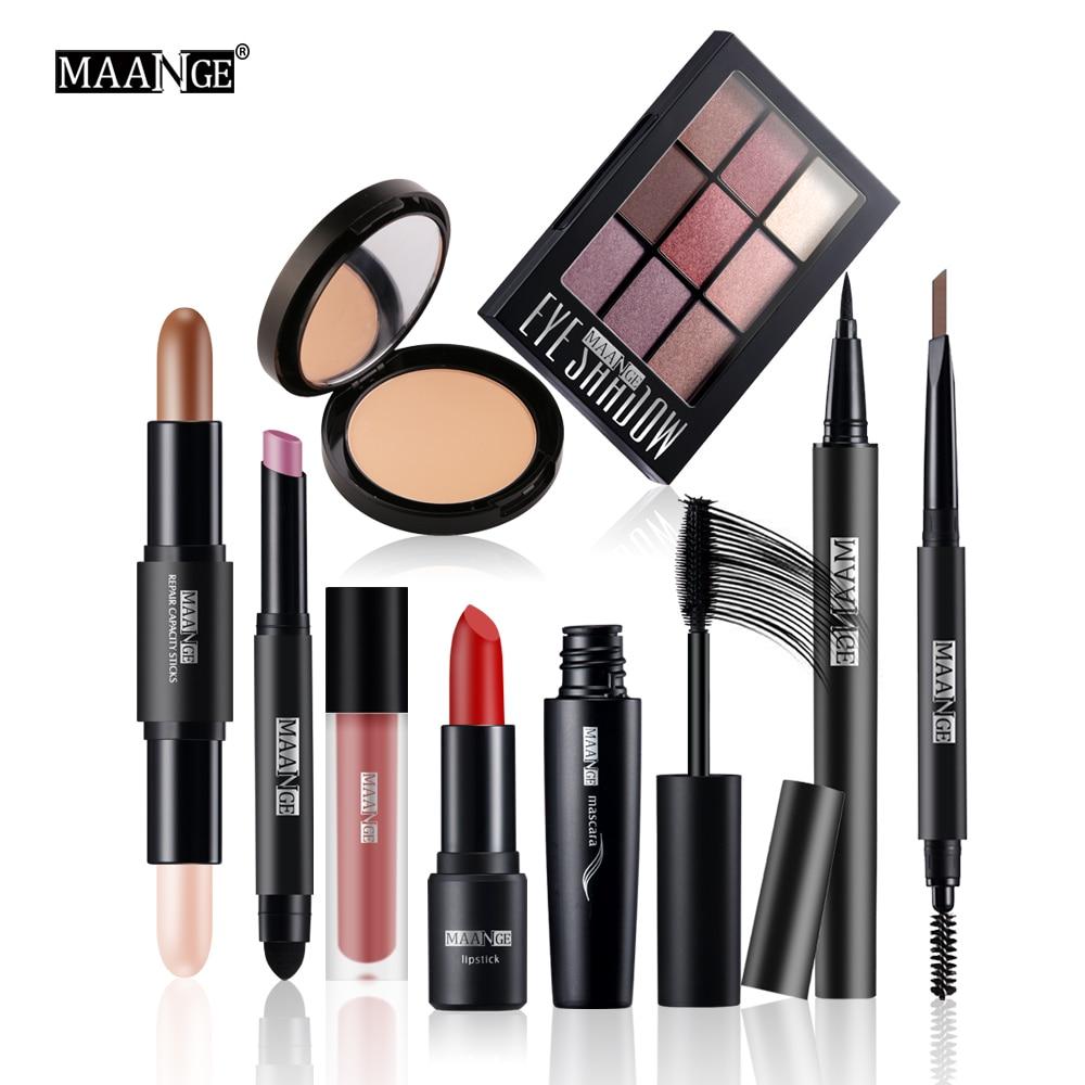 MAANGE 9 Pcs/Set Make up Cosmetics Mascara Eyeshadow Matte Lipstick Lipsgloss With Makeup Bag Makeup Set for Gift Makup Tool Kit