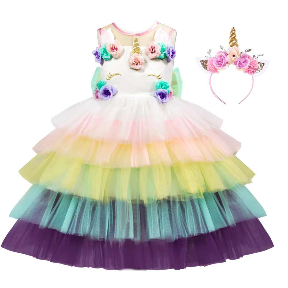 Disfraz de unicornio para niña con diadema de flores para niños Pony Arco Iris Tutu vestido para niños Halloween tema vestidos de fiesta