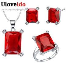 Uloveido Crimson Rhinestone Marriage ceremony Jewellery Units Bridal Equipment Silver Plated Jewelery Rings and Earrings Sq. Pendant T473