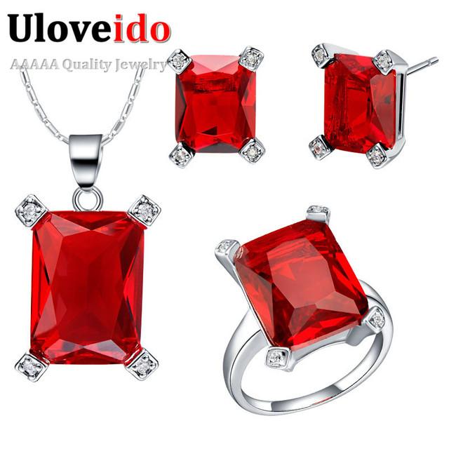 Uloveido red rhinestone joyería de la boda establece accesorios nupciales anillos y pendientes de plata joyería colgante cuadrado t473