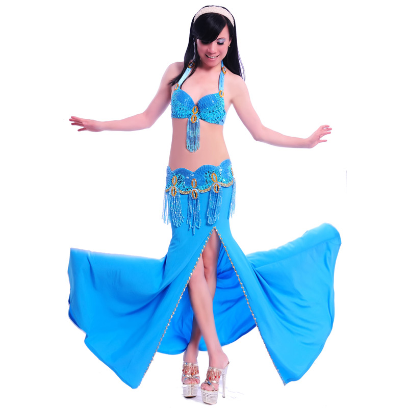 Professional Belly Dance Costume 2 Pcs Bra belt 34b c 36b c 38b c 8 Colors