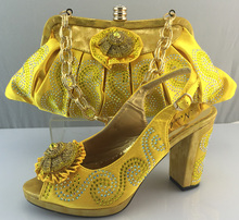 Hot Selling Elegant Women's Shoes and Bag Set African Women Shoes High Heel ME3310 Yellow Size 38-42 For Free Shipping.