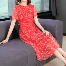 Real 100% silk natual dress summer clothes for women plus size large midi party dresses elegant noble retro print floral robe