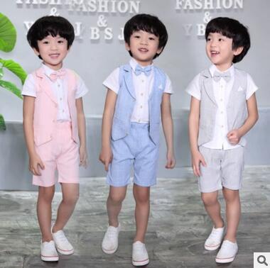 summer new baby boy suit flower girl dress suit suit bow 100% cotton suit vest + shirt + trousers 3pcs/sets of children brand