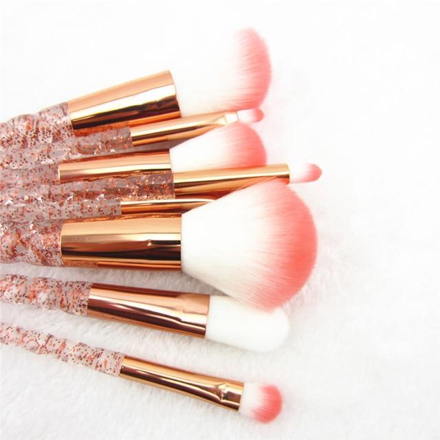 8pcs Red Glitter Diamond Brush Crystal Makeup Brushes Set Foundation Blending Power Eyeshadow Brush Cosmetic Beauty Make Up Tool 4