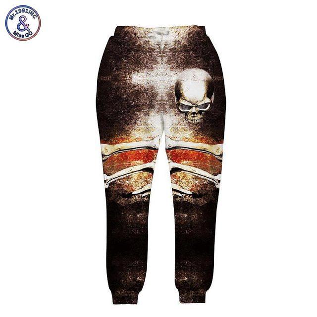 Mr.1991INC Harajuku style men/women 3D pant Hip hop print big skulls galaxy joggers long trousers autumn clothes