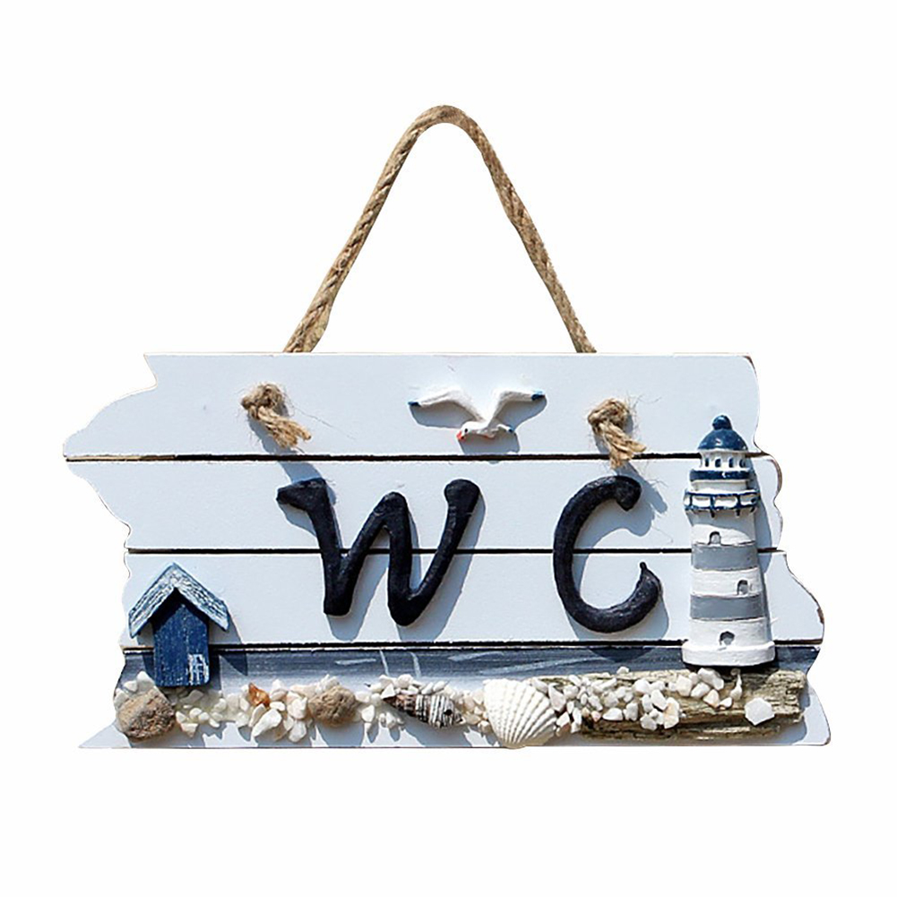 HOT-1Pc Funny Handmade Wood Hang Toilet Signage Sign Sticker WC Bathroom Door Wall Decor House Lighthouse section ...