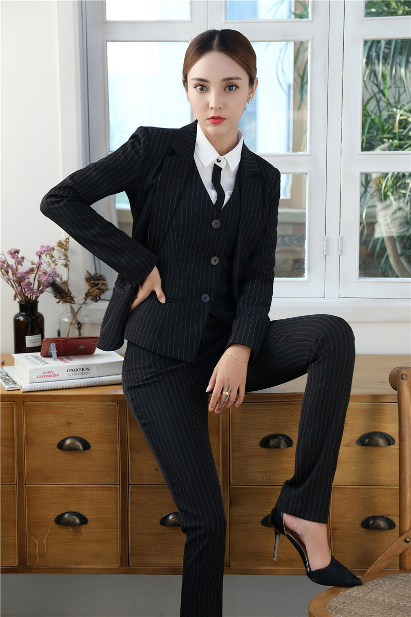 d700a595e03 Formal Grey Blazer Women Business Suits with Pant + Jacket + Waistcoat Sets  Office Ladies Work Wear Uniforms OL StyleUSD 72.89 set