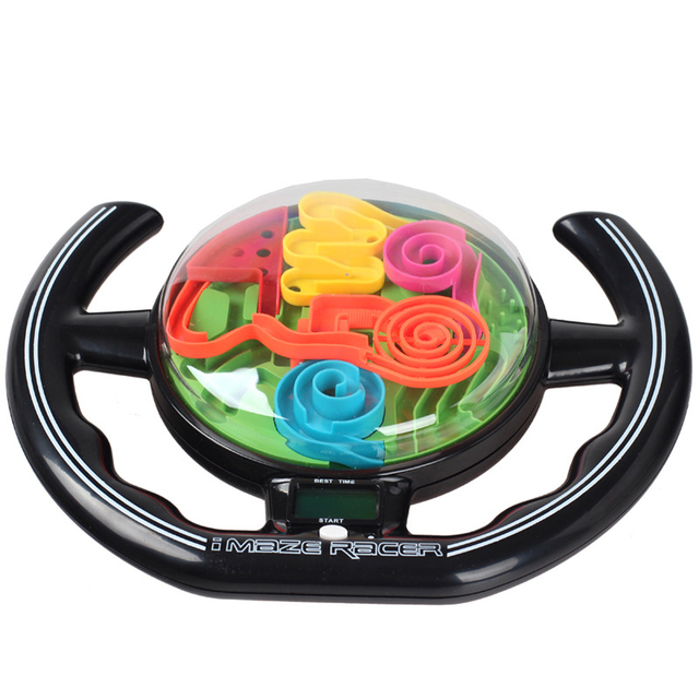 3D Puzzle Maze Ball Magic Ball Steering Wheel Maze Music Time Children's Educational Toys Training Tools Kids IQ Trainer