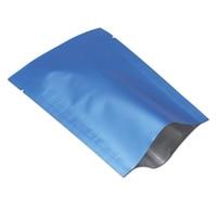 Wholesale Blue Golden Vacuum Open Top Matte Bags Pure Aluminum Foil Food Packaging Pouches Heat Seal For Coffee Tea Snacks