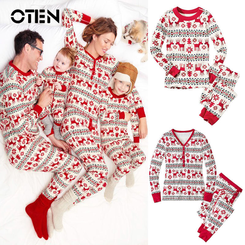 oten christmas 2018 cartoon kids adult pajama sets children sleepwear nightwear family christmas pajamas toddler baby pyjamas - Christmas Pjs Toddler