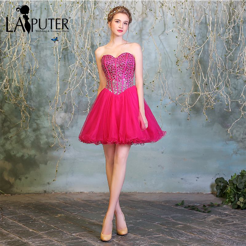 fantastic savings 2018 sneakers modern style US $99.0 |Youthful Real Pictures Sweetheart Sequins Crystals Beaded Zipper  Back Ball Gown Above Knee Short Hot Pink Cocktail Dresses-in Cocktail ...