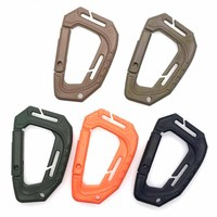 100pcs/pack D Shape 200LB Plastic Snap Clip Carabiner Mountaineering Buckle Outdoor Hanging Keychain Hook Climbing Accessories