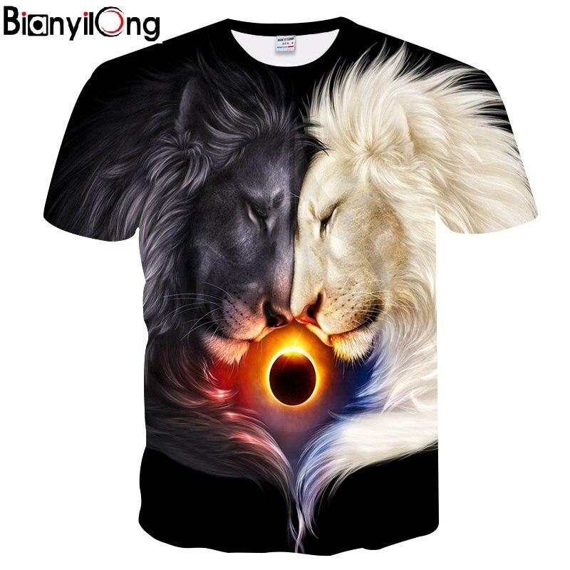 BIANYILONG Fashion Brand   T  -  shirt   Men/Women Summer 3d Tshirt Print Yin and Yang lion   T     shirt   Tops Tees