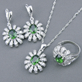 Green Created Emerald White Topaz 925 Sterling Silver Jewelry Sets For Women Earrings Rings Necklace Pendant Free Gift Box