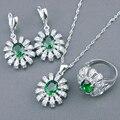 Verde Esmeralda Creado Blanco Topaz 925 Anillos de Plata de La Joyería Para Las Mujeres Pendientes Collar Colgante De Caja de Regalo