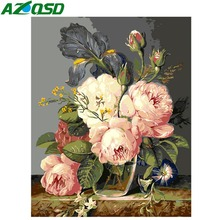 AZQSD Big White Pink Flowers Painting By Numbers On Canvas 40x50cm Frameless Oil Picture Home Decor szyh6114